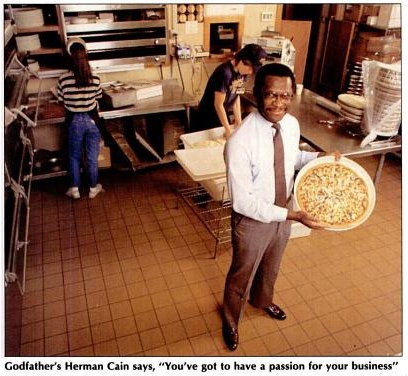 Herman Cain pizza: Black Enterprise, February 1988