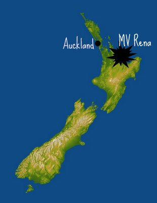 Site of the grounding of the MV Rena, off the North Island of New Zealand. : Satellite image courtesy of NASA/JPL/NGA.