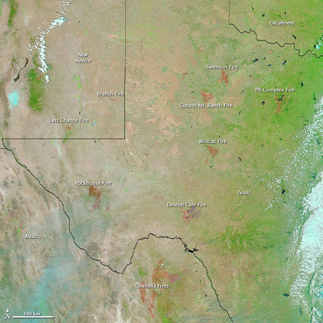 Wildfires in Texas as of 30 April 2011. At this point more than two million acres/809,371 hectares had already burned. :  Jesse Allen/NASA Earth Observatory