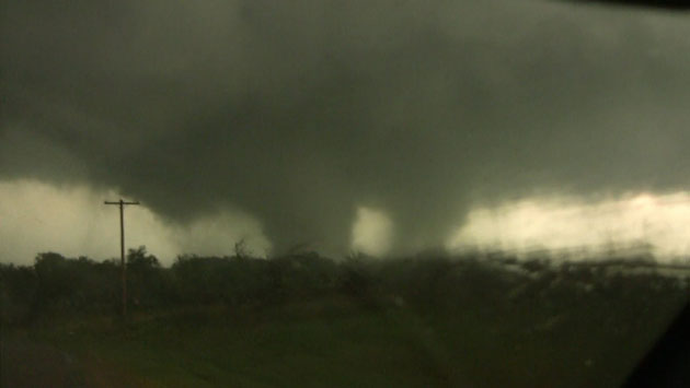 A picture of the EF3 tornado that struck Tushka, Oklahoma, 14 April 2011. Credit: Gabe Garfield and Marc Austin via NOAA.: A picture of the EF3 tornado that struck Tushka, Oklahoma, 14 April 2011. Credit: Gabe Garfield and Marc Austin via NOAA.
