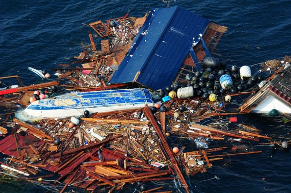 nglish: Japanese tsunami debris on the open ocean, March 2011. Credit: US Navy, via Wikimedia Commons.