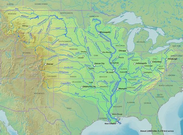 Mississippi River watershed. Credit: Shannon via Wikimedia Commons.