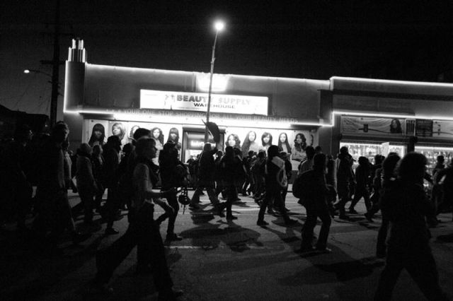 Occupy Oakland approaches 28th and Telegraph.