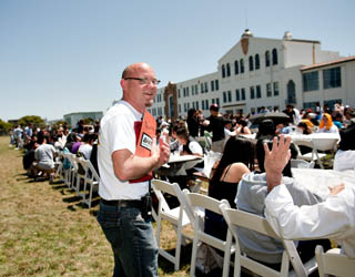 Principal Eric Guthertz at a recent lunch celebration at Mission High. Photo: Winni Wintermeyer
