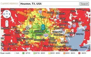 Concentric rings of higher costs surround Houston.