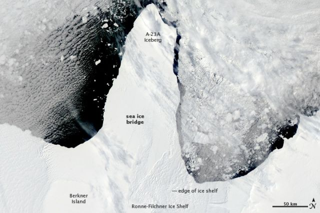 The Ronne-Filchner Ice Shelf in West Antarctica on the afternoon of 12 January 2010 .: NASA images courtesy Jeff Schmaltz, MODIS Rapid Response Team at NASA GSFC.
