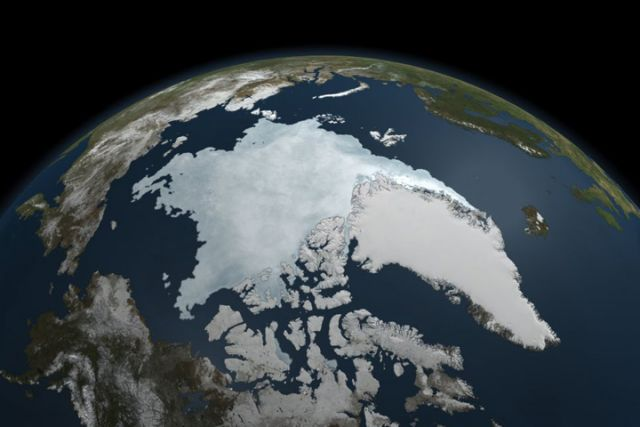 Arctic sea ice extent on 9 September 2011, the 2nd lowest extent on record.: Credit: NASA Earth Observatory.