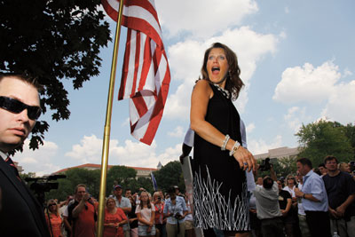 In August 2010, Bachmann threw a tea party event after Glenn Beck's Restoring Honor rally in Washington, DC.: Mark Peterson/Redux