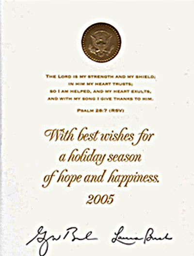 The 2005 Bush holiday card.