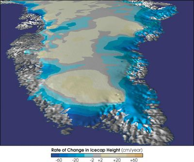 Rate of change in ice sheet height for Greenland. Credit: NASA.