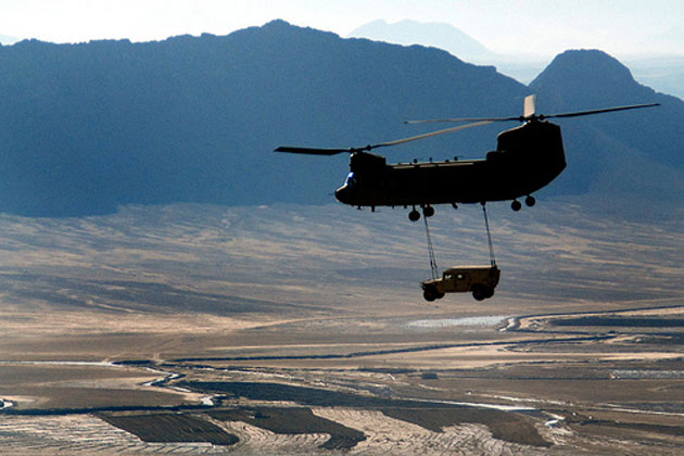 chinook lifting humvee over kandahar