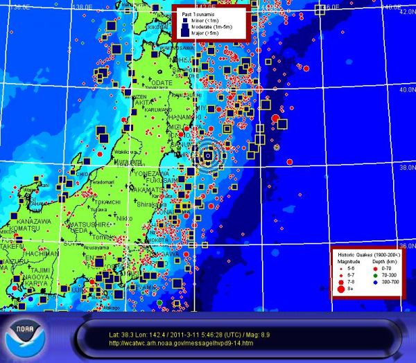 This map shows the details of Japan's 8.9 source earthquake, embedded in a map of its historically larger quakes and tsunamis.