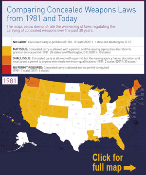 See how concealed-weapons laws have weakened over the last 30 years: Legal Community Against Violence