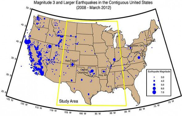 3.0+ magnitude earthquakes in the midcontinental US: USGS