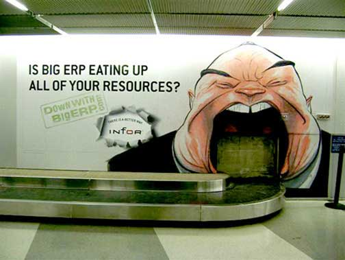 There's this one: actually pasted on the luggage carousel at O'Hare.  You can watch him eat your bags!