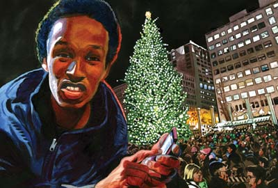 "Mohamed Osman Mohamud was an 18-yeaer old wannabe rapper when an FBI agent asked if he'd like to ""help the brothers."" Eventually the FBI gave him a fake car bomb and a phone to blow it up during a Christmas tree lighting.: Illustration: Jeffrey Smith"