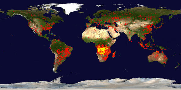 Fire map. Credit: Jacques Descloitres. Fire detection algorithm developed by Louis Giglio. Blue Marble background image created by Reto Stokli.