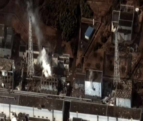 Earthquake and tsunami damage to the Fukushima I Nuclear Power Plant. Credit: Digital Globe via Wikimedia Commons.