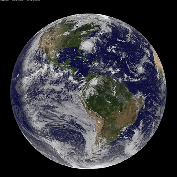 The earth, as of Friday morning. Irene moves in on the East Coast.: NASA Goddard Video and Photo/Flickr