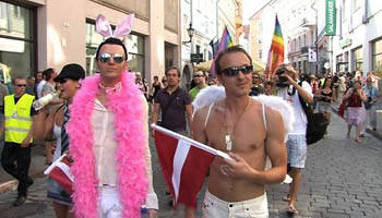 Oskars and Aldis at the Tallin Pride Parade in 2009. : Photo courtesy of Kaspars Goba