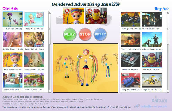 "The ""Gendered Advertising Remixer"" app lets you swap audio and video tracks in a Web interface"