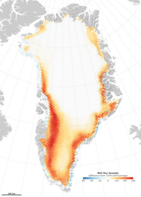 Number of melt days per year in 2010 compared to average of 1979-2009. Credit: NASA Earth Observatory image by Robert Simmon, based on data from Marco Tedesco, City College of New York.