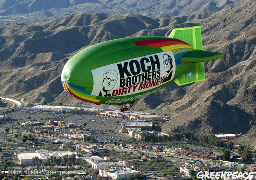 A Greenpeace blimp flies over a Koch brothers' retreat near Palm Spring in January 2011.: Gus Ruelas/Greenpeace