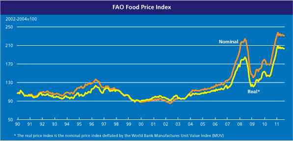The explosive growth in food prices cannot be explained by supply and demand. : Graph: FAO