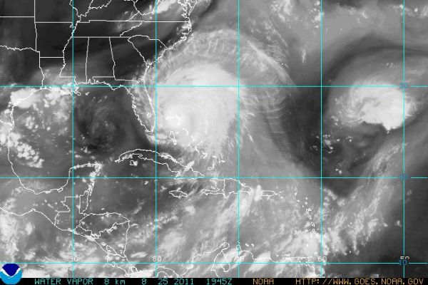 Water vapor, showing massive footprint of Hurricane Irene at 1945 UTC on 25 Aug 2011. Credit: NOAA.