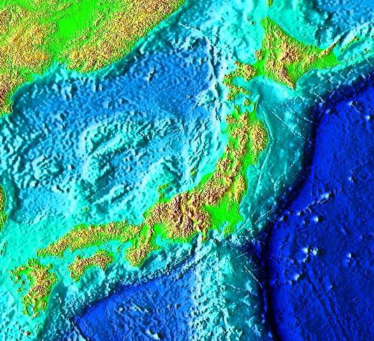 The Japanese Islands are situated along a line to the west of the Japan Trench. Credit: NOAA, via Wikimedia Commons.
