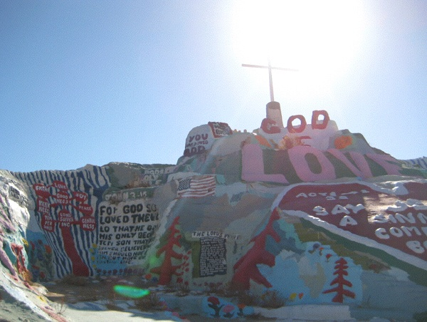 Lead There be Light: Leonard Knight, 79, began building Salvation Mountain at the entrance to Slab City in 1986 (Photo: Tim Murphy).