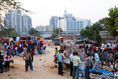 A makeshift market in Gurgaon.