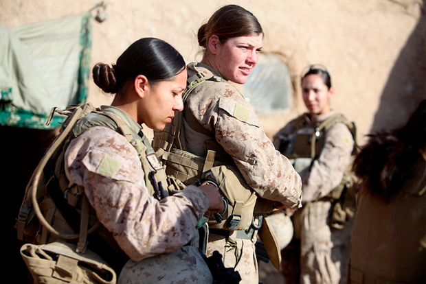 Female Marines on foot patrol in Marjah, Afghanistan: Marine Corps Photo