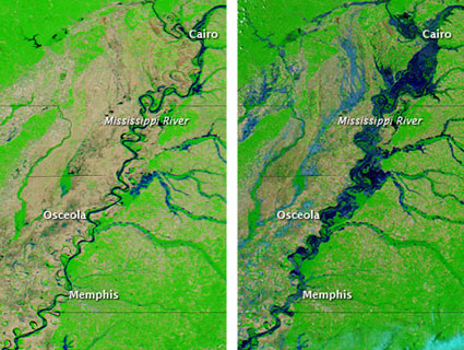 Images of the Mississippi River, before and after the flooding.: NASA Earth Observatory