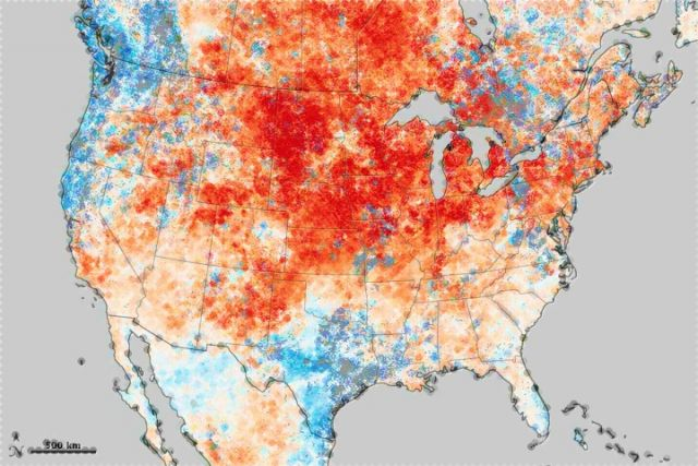 Historic heat wave in N. America turns winter to summer: NASA Earth Observatory image by Jesse Allen, using data from the Level 1 and Atmospheres Active Distribution System (LAADS).