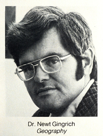 Newt Gingrich as geogrraphy professor at West Georgia College, Carrollton, GA circa 1975.: Robin Nelson/Zuma