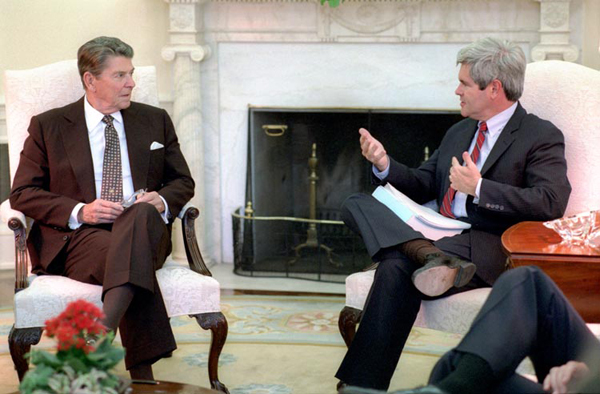 Newt Gingrich and Ronald Reagan in 1985.: Courtesy of the Ronald Reagan Library