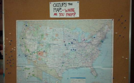 Traveling occupiers indicated where they'd arrived in Des Moines from with thumbtacks on this map.: Gavin Aronsen