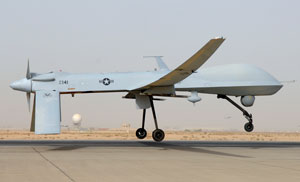 A MQ-1B Predator aircraft takes off on June 12, 2008. If you hear a Predator hovering above you in Pakistan, you're probably in for a very bad day. (U.S. Air Force photo by Senior Airman Julianne Showalter/Released)