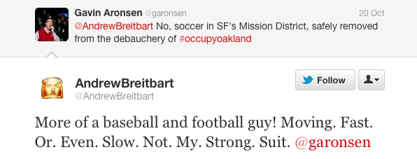 Offsides: Breitbart demurs to a invitation to a friendly soccer match.