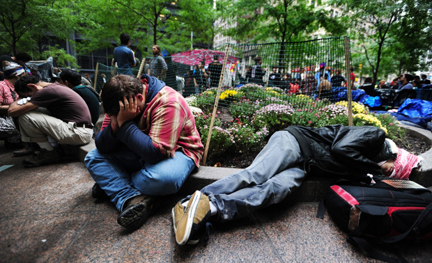 Demonstrators sleep in Zuccotti Park.: Bryan Smith/Zuma