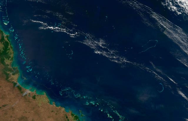 Part of the Coral Sea off the Queensland coast of Australia.: Credit: NASA.
