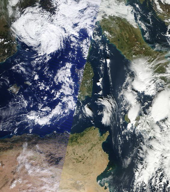 Hybrid tropical-extratropical storm 'Rolf' in the Mediterranean Sea 9 Nov 2011.: Credit: MODIS/NASA.