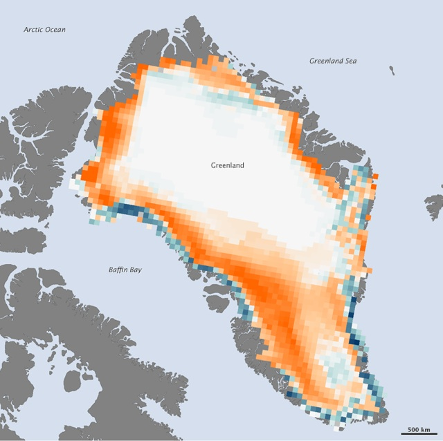 Surface-melt days in 2011 compared to 1979-2010 average: orange=fewer days; blue=fewer days; white=no difference from average, or twoo small to detect. : Image and caption courtesy NOAA's Climate.gov Website.
