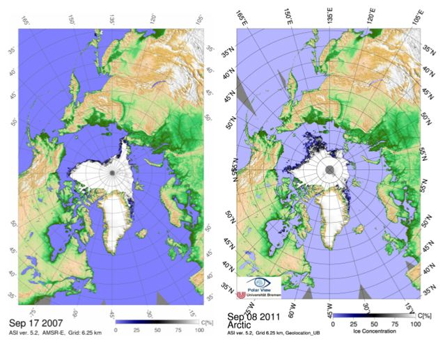 Sea ice concentration maps of the minimum on 17 Sept 2007 and of the first day of historic minimum on 8 Sept 2011. The 2011 sea ice minima could reduce further in the next days. Credit: University of Bremen.