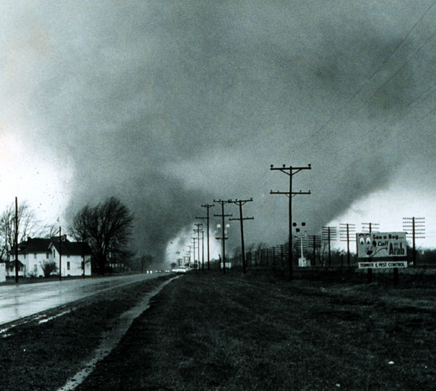 The 1965 Elkhart, Indiana double tornado.: Credit: NOAA via Wikimedia Commons.