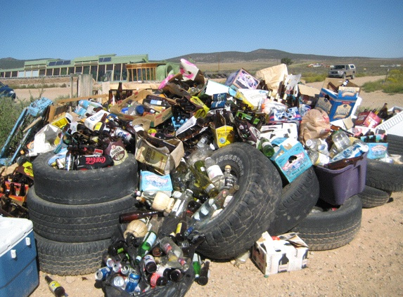 "Taos, New Mexico—Architect Michael Reynolds uses bottles, cans, and old tires to insulate his ""Earthship"" houses (Photo: Tim Murphy)."