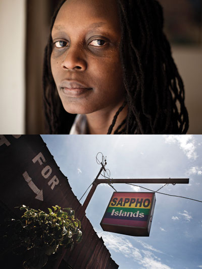 LGBT activist Kasha Nabagesera. The sign for her Sappho Islands bar still hangs even though the pub was torn down.
