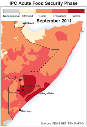 A map of where the famine is hitting hardest. : Source: OCHA