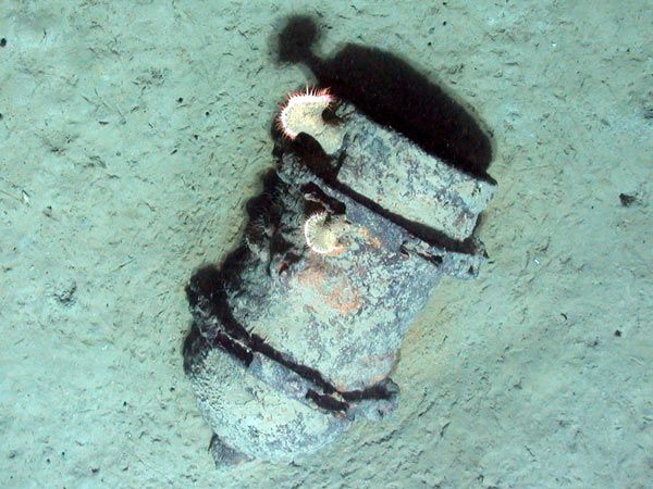 Unexploded ordinance on the seafloor in the Gulf of Mexico. Credit: Expedition to the Deep Slope 2007, NOAA-OE.